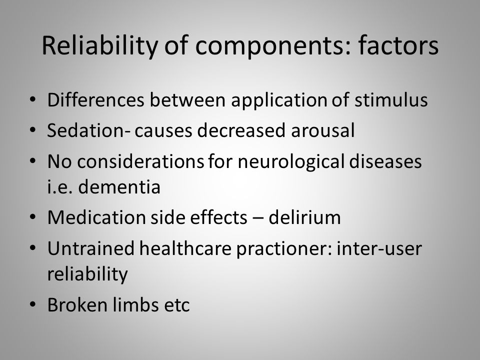 Reliability of components: factors
