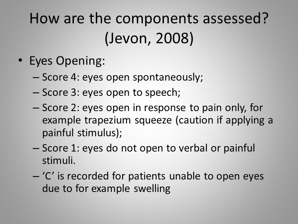 How are the components assessed (Jevon, 2008)
