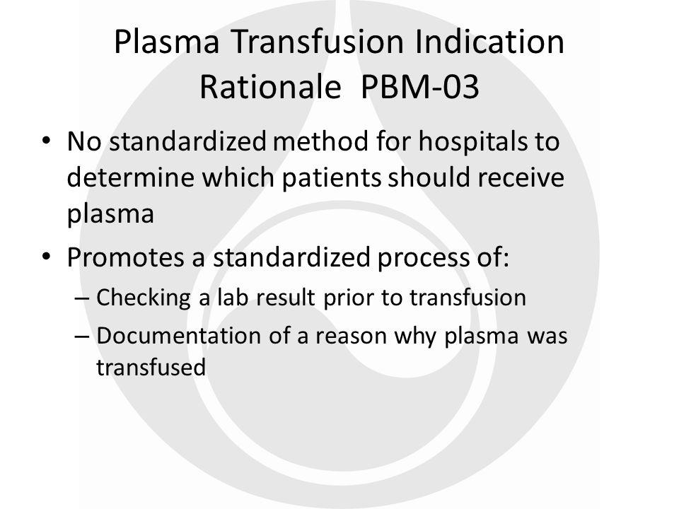 Plasma Transfusion Indication Rationale PBM-03