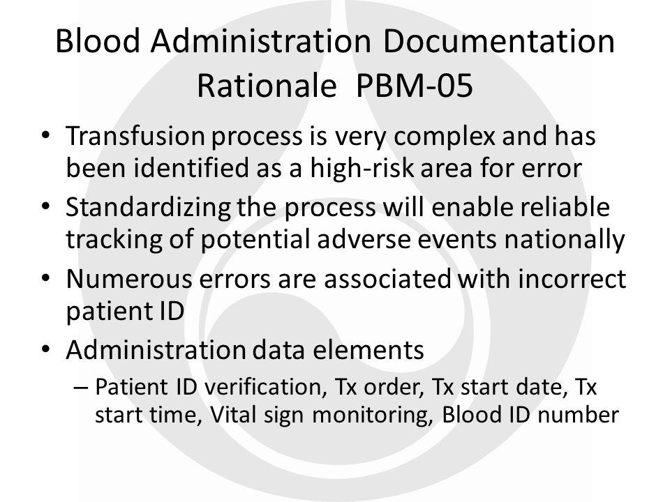 Blood Administration Documentation Rationale PBM-05