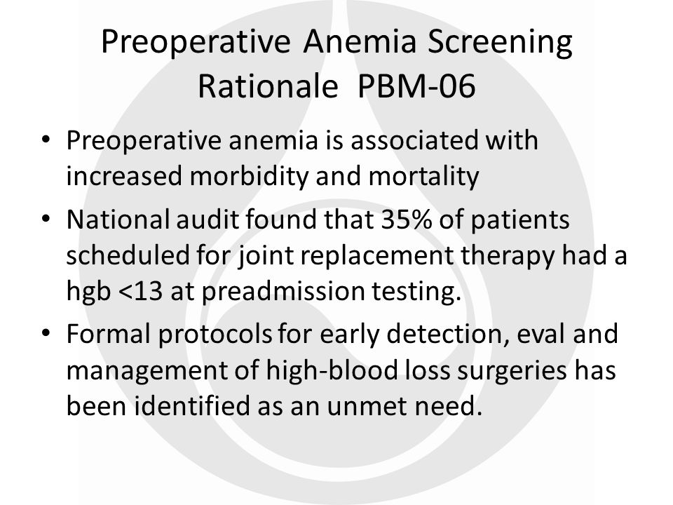 Preoperative Anemia Screening Rationale PBM-06