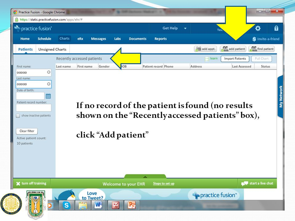 If no record of the patient is found (no results shown on the Recently accessed patients box),