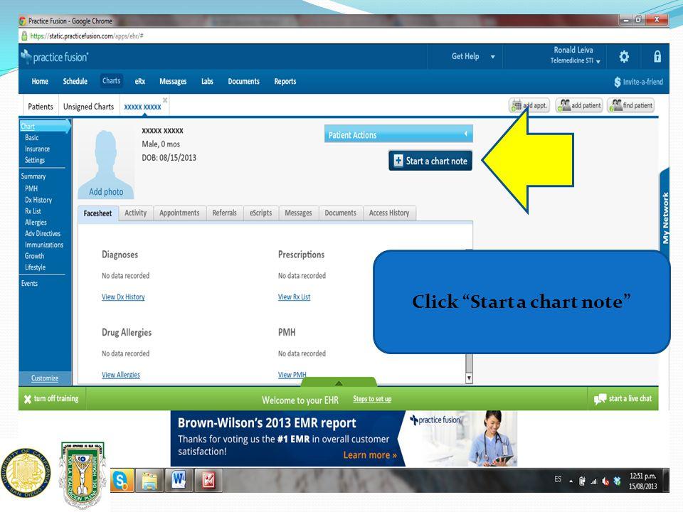 Click Start a chart note