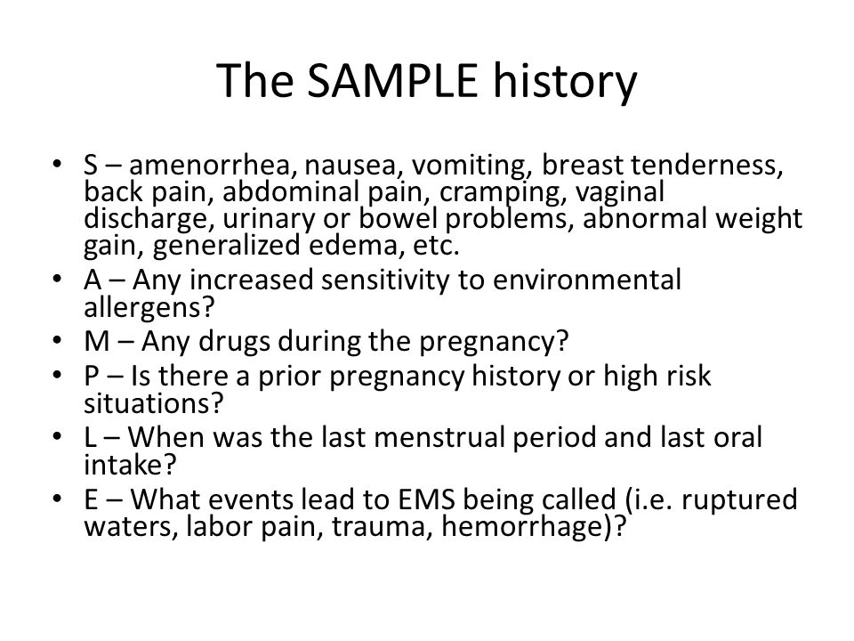 The SAMPLE history
