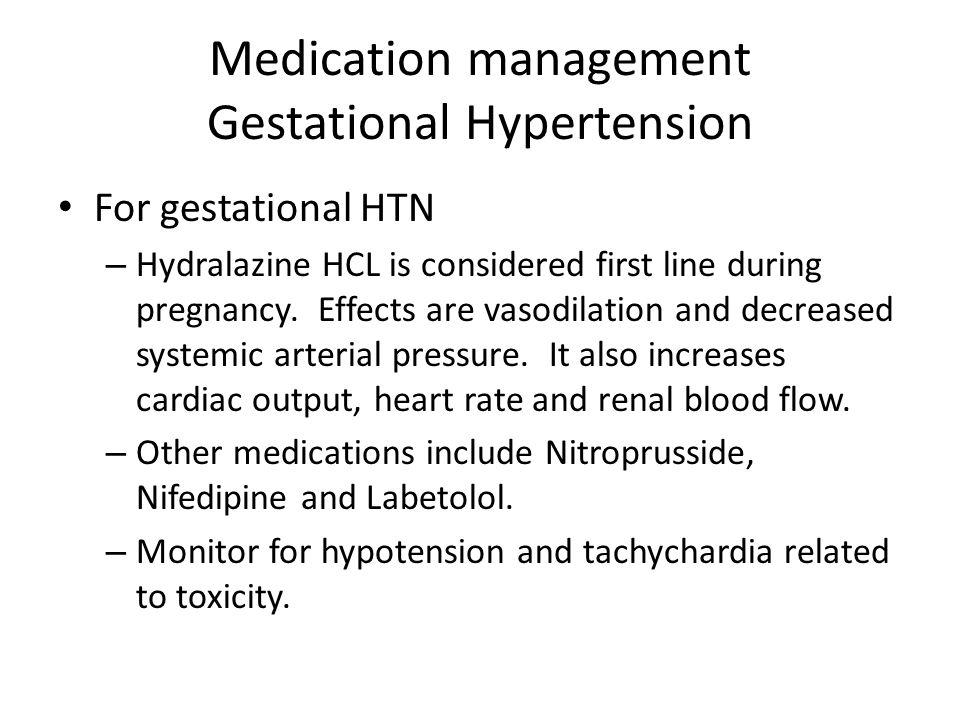 Medication management Gestational Hypertension