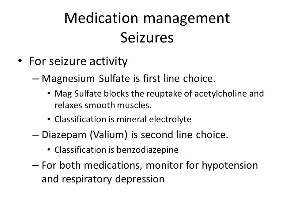 Medication management Seizures