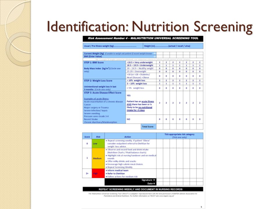 Identification: Nutrition Screening