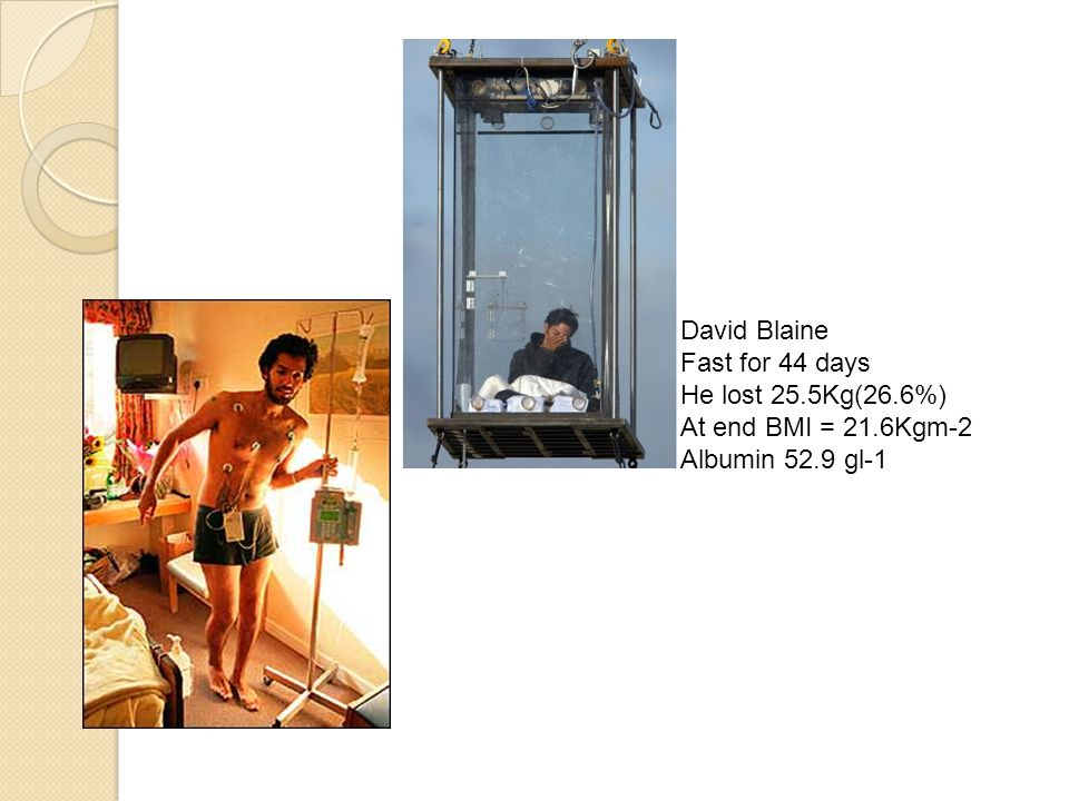 David Blaine Fast for 44 days He lost 25.5Kg(26.6%) At end BMI = 21.6Kgm-2 Albumin 52.9 gl-1