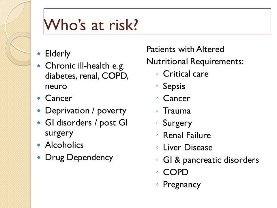 Who's at risk Patients with Altered Elderly Nutritional Requirements: