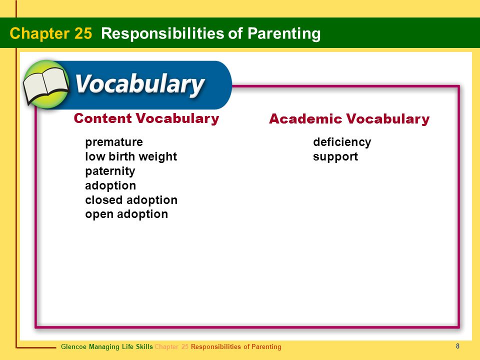Content Vocabulary Academic Vocabulary premature low birth weight