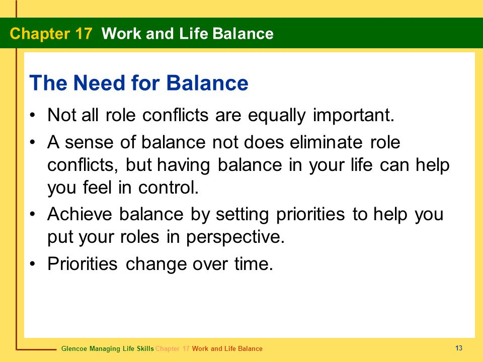 The Need for Balance Not all role conflicts are equally important.