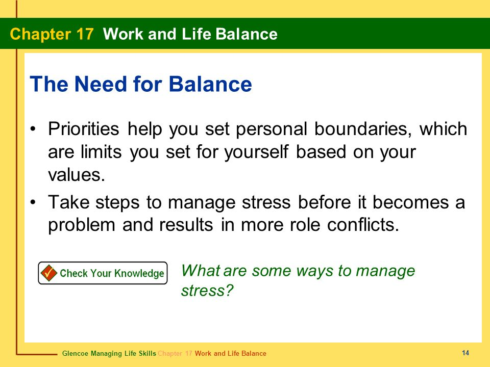 The Need for Balance Priorities help you set personal boundaries, which are limits you set for yourself based on your values.