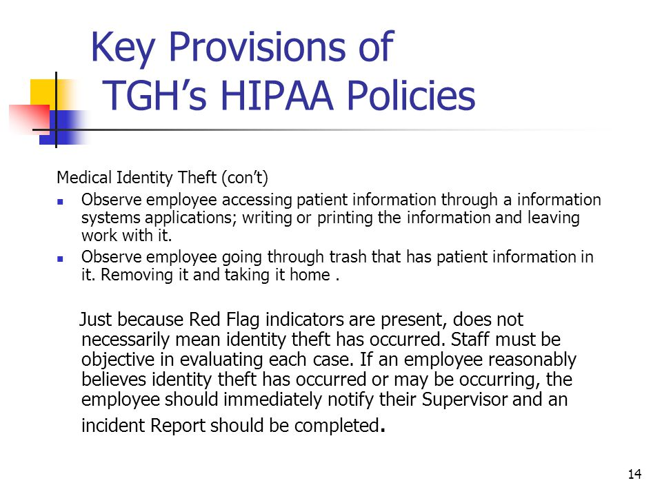 Key Provisions of TGH's HIPAA Policies