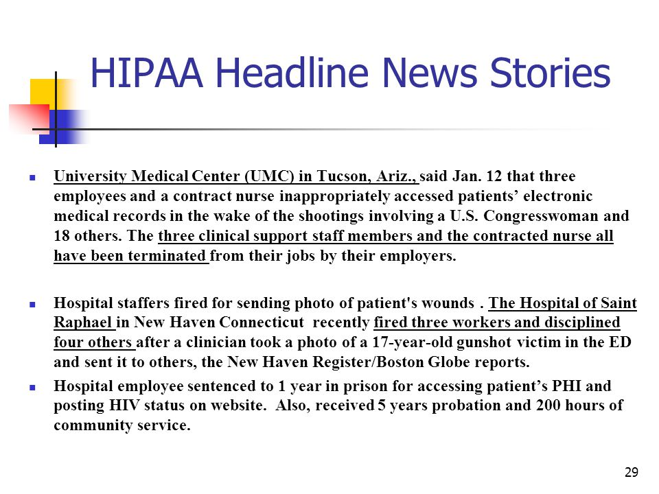 HIPAA Headline News Stories