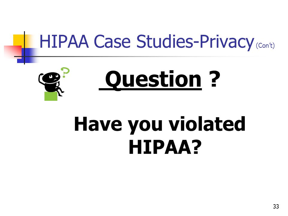 HIPAA Case Studies-Privacy (Con't)