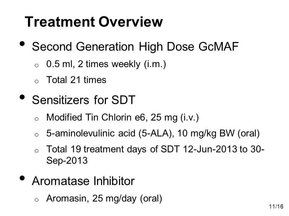 Treatment Overview Second Generation High Dose GcMAF