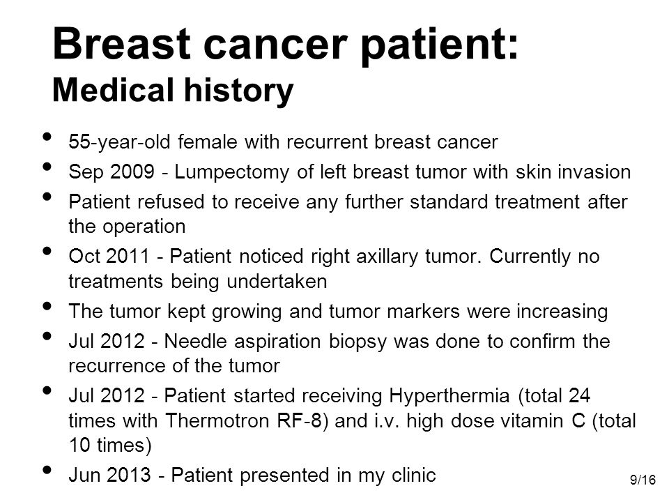 Breast cancer patient: Medical history