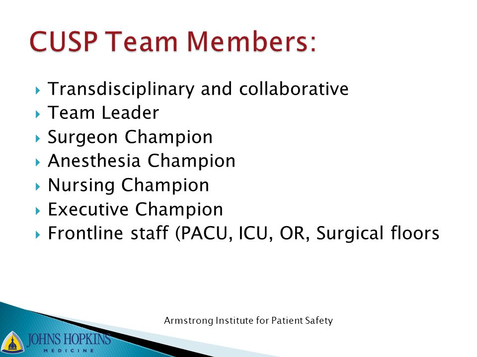 CUSP Team Members: Transdisciplinary and collaborative Team Leader
