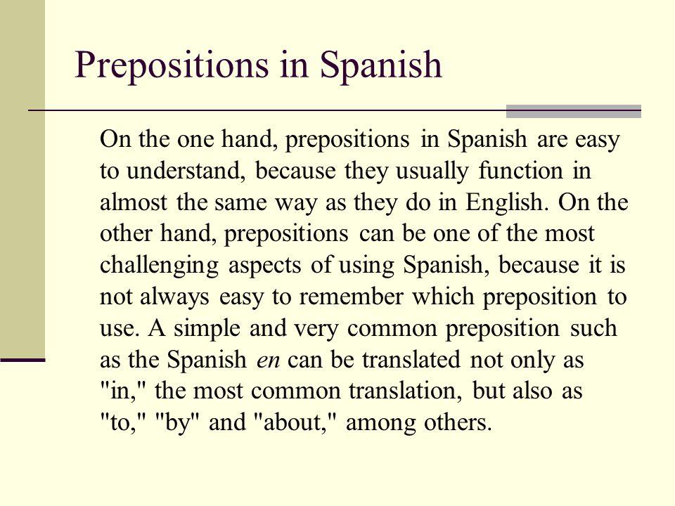 Prepositions in Spanish
