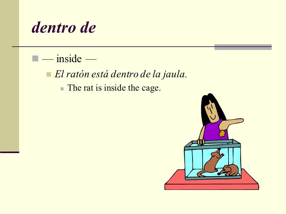 dentro de — inside — El ratón está dentro de la jaula.