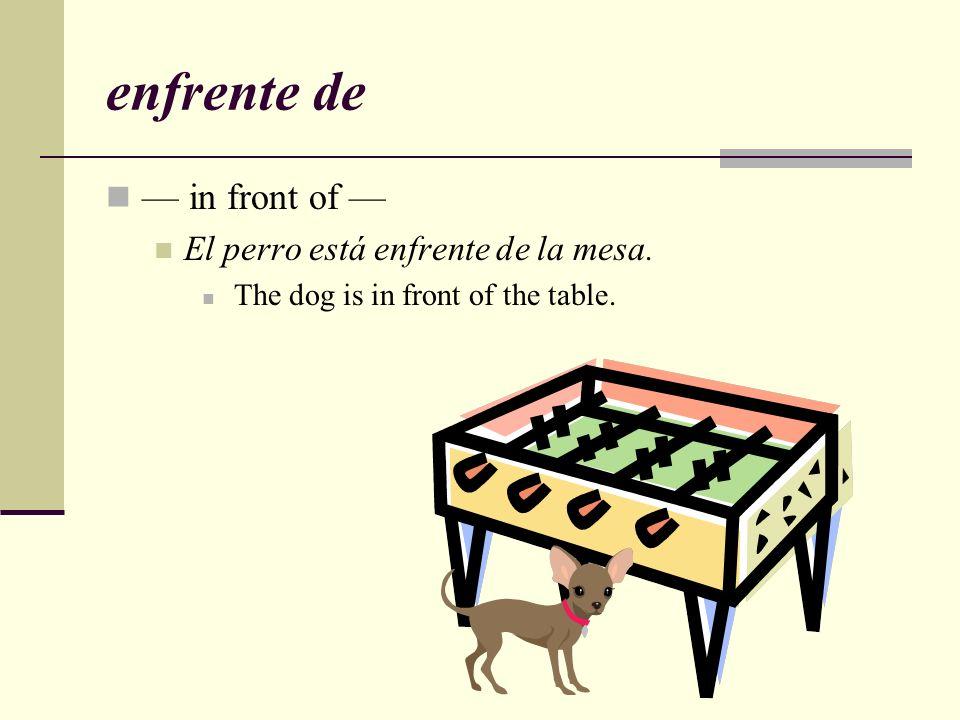 enfrente de — in front of — El perro está enfrente de la mesa.