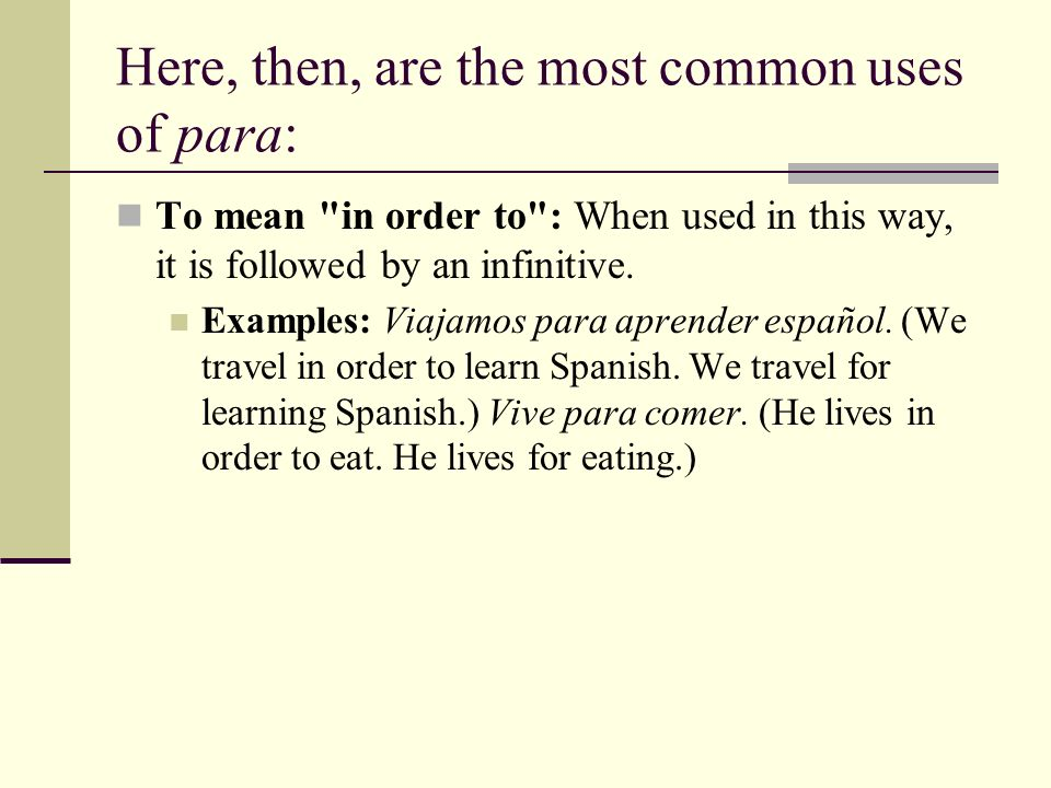 Here, then, are the most common uses of para: