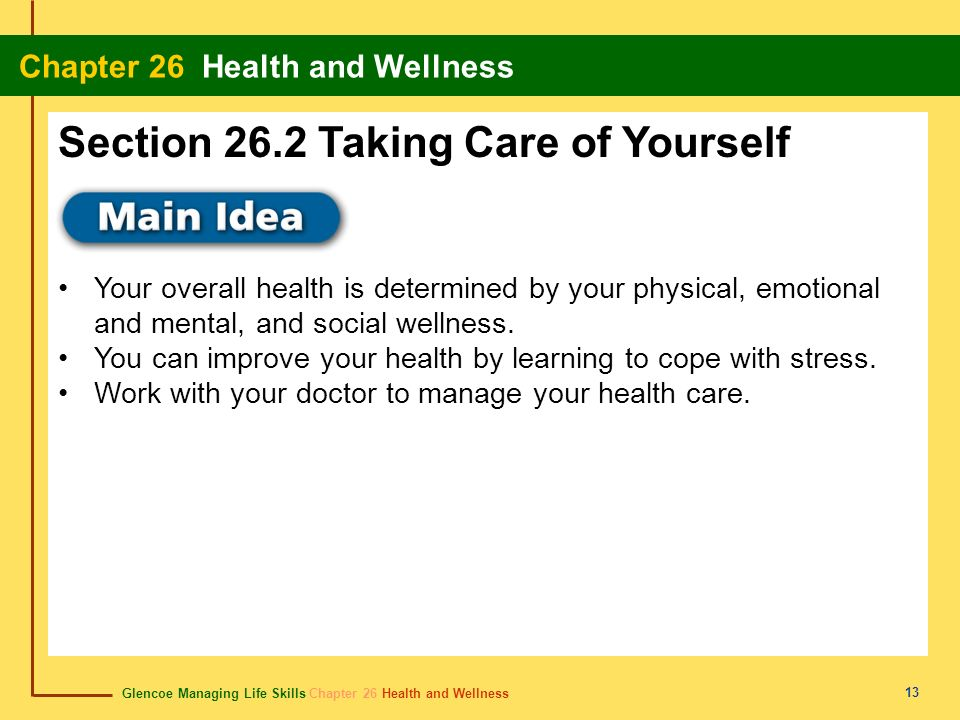 Section 26.2 Taking Care of Yourself