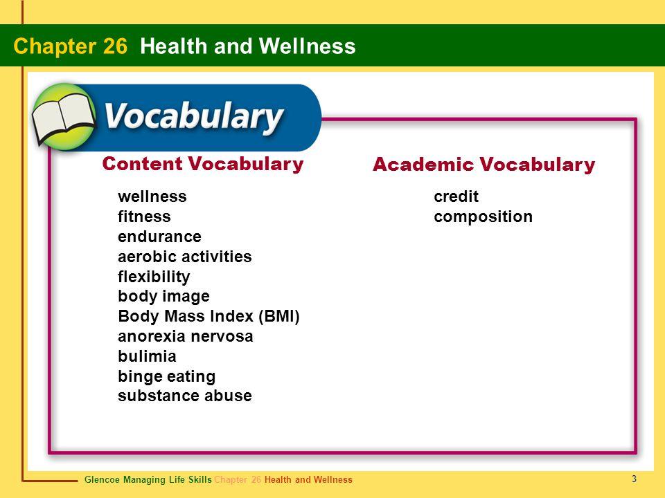 Content Vocabulary Academic Vocabulary wellness fitness endurance