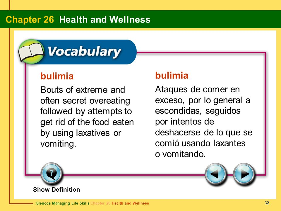 bulimia bulimia. Bouts of extreme and often secret overeating followed by attempts to get rid of the food eaten by using laxatives or vomiting.