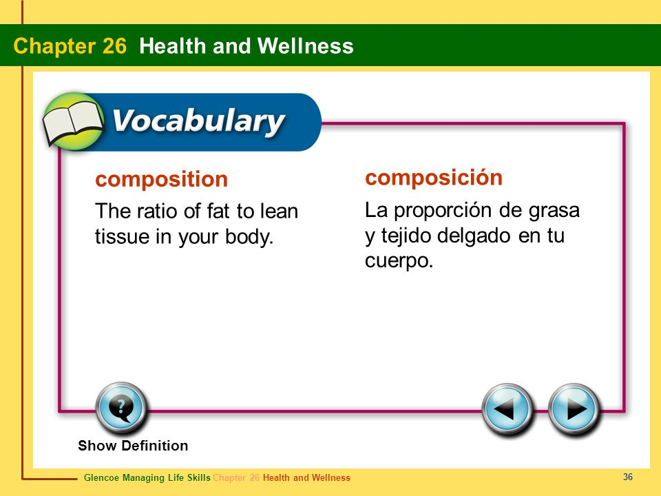 composition composición The ratio of fat to lean tissue in your body.
