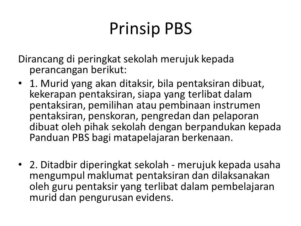 Prinsip PBS Dirancang di peringkat sekolah merujuk kepada perancangan berikut: