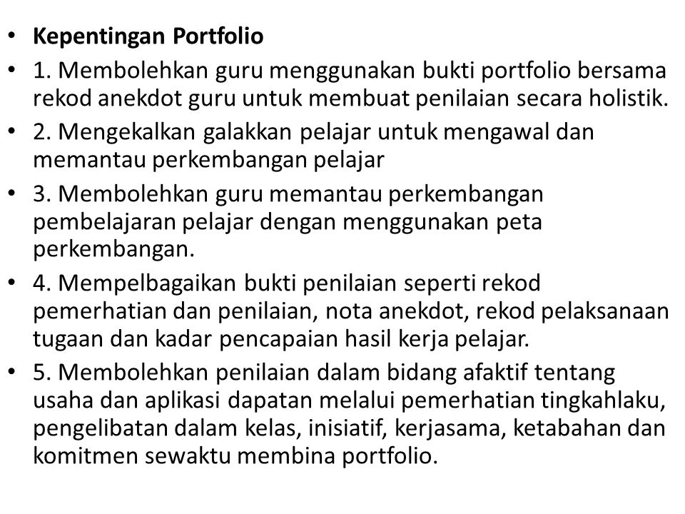Kepentingan Portfolio