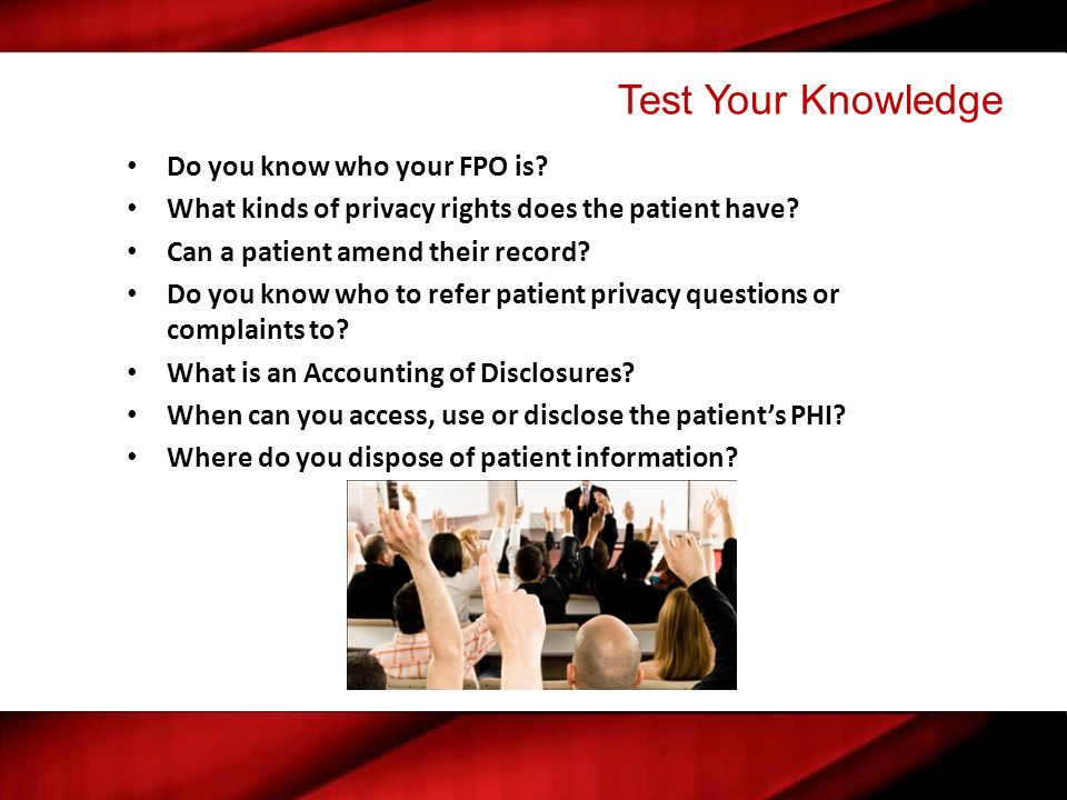 Test Your Knowledge Do you know who your FPO is