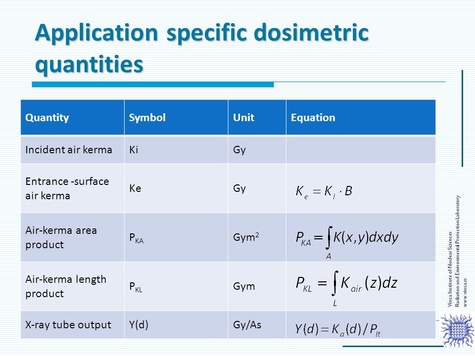 Application specific dosimetric quantities