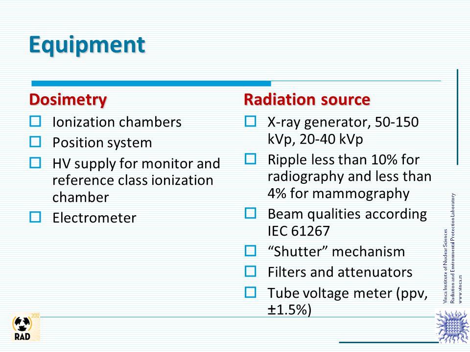 Equipment Dosimetry Radiation source Ionization chambers