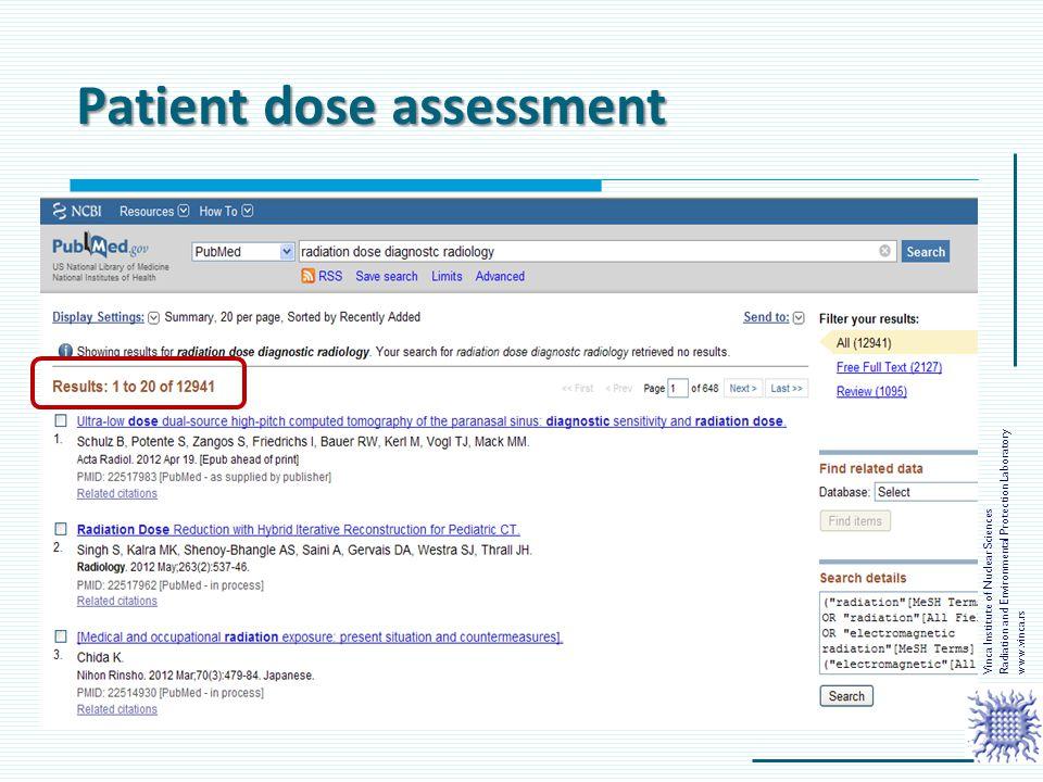 Patient dose assessment