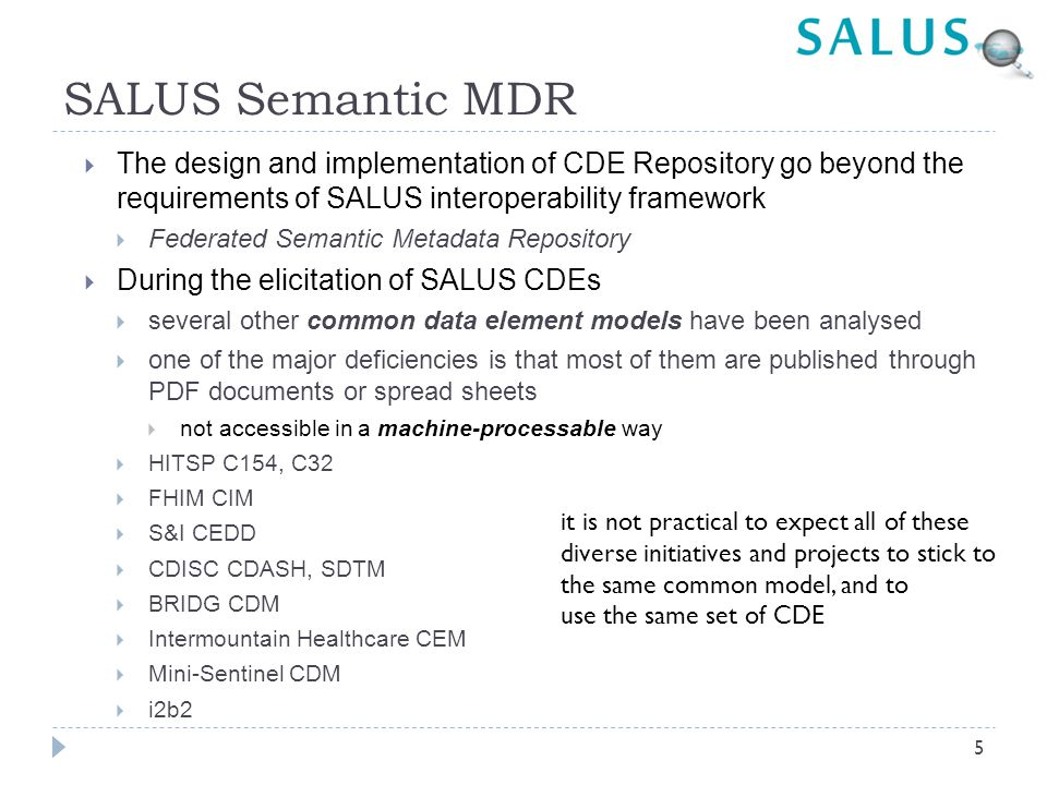 SALUS Semantic MDR The design and implementation of CDE Repository go beyond the requirements of SALUS interoperability framework.