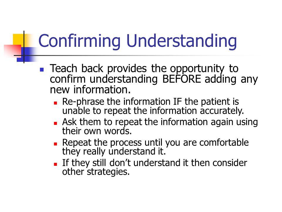 Confirming Understanding