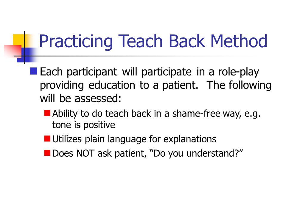 Practicing Teach Back Method