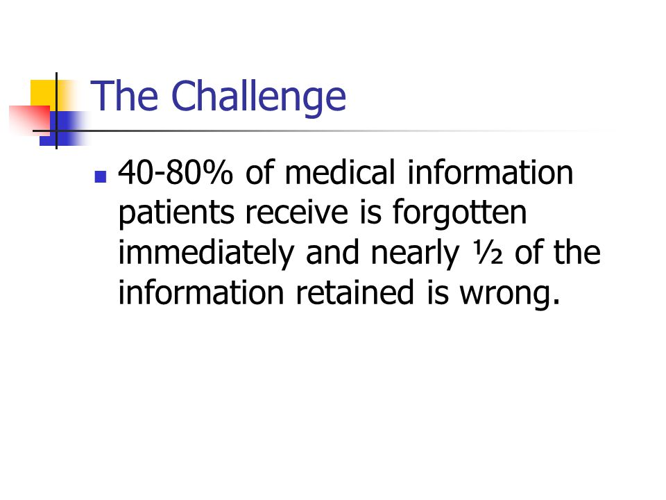 The Challenge 40-80% of medical information patients receive is forgotten immediately and nearly ½ of the information retained is wrong.
