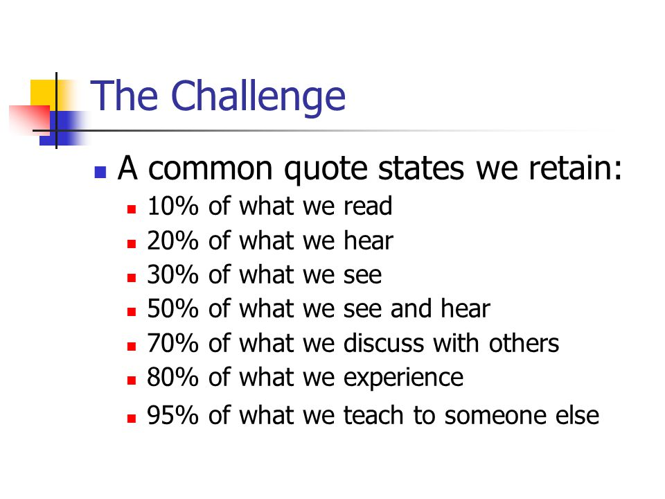 The Challenge A common quote states we retain: 10% of what we read