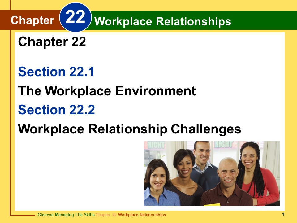 22 Chapter 22 Section 22.1 The Workplace Environment Section 22.2