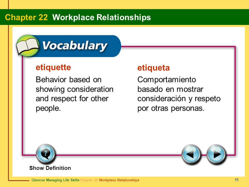 etiquette etiqueta. Behavior based on showing consideration and respect for other people.