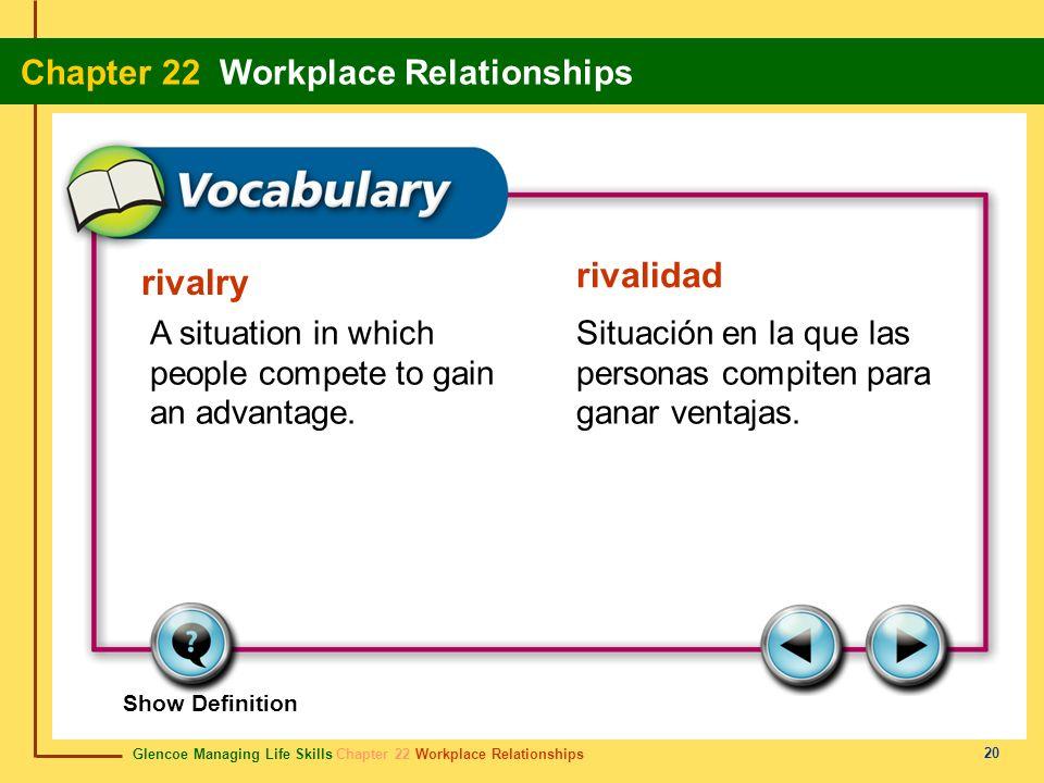 rivalidad rivalry. A situation in which people compete to gain an advantage. Situación en la que las personas compiten para ganar ventajas.