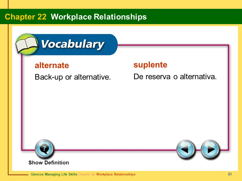 alternate suplente Back-up or alternative. De reserva o alternativa.