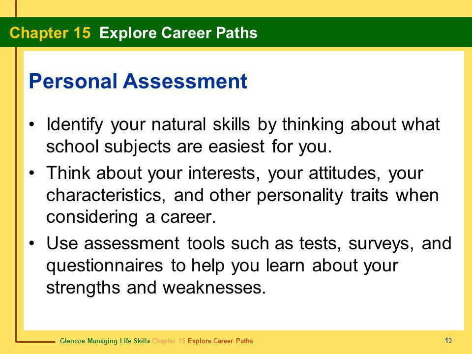 Personal Assessment Identify your natural skills by thinking about what school subjects are easiest for you.