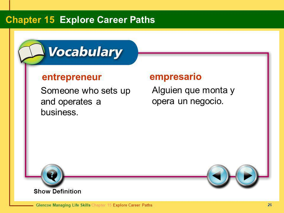 entrepreneur empresario Someone who sets up and operates a business.