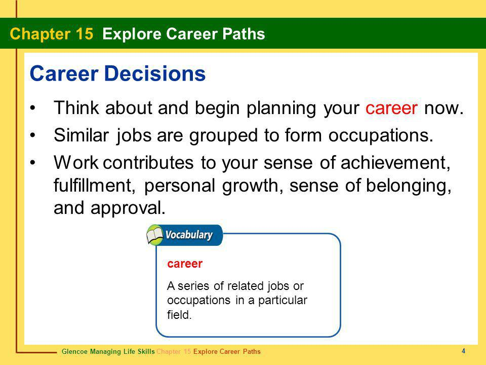 Career Decisions Think about and begin planning your career now.