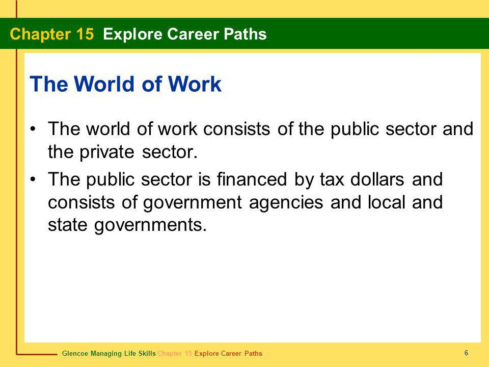 The World of Work The world of work consists of the public sector and the private sector.