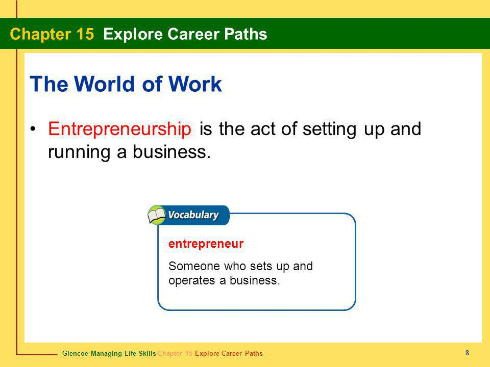 The World of Work Entrepreneurship is the act of setting up and running a business.
